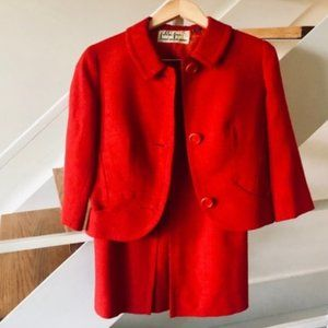 Made in France Jackie O Style 60s Red Skirt Suit
